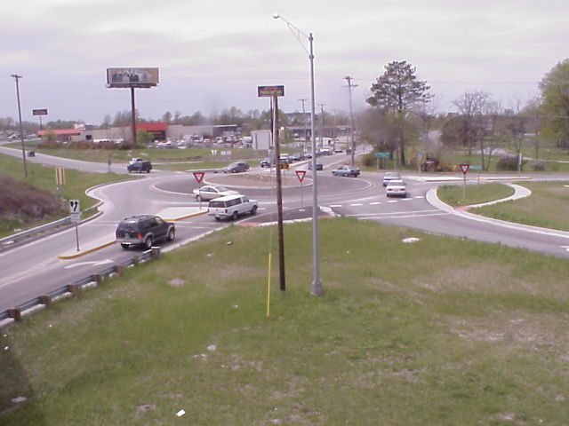 Traffic entering this roundabout in suburban Columbia, MO yields to traffic within the roundabout.